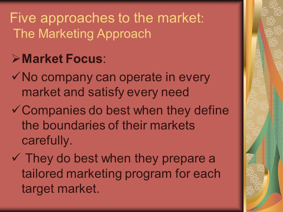 Starting point Focus Means Ends Factory Product Selling Profits through Promotion sales volume A. The selling concept Market Customer Coordinate Profi