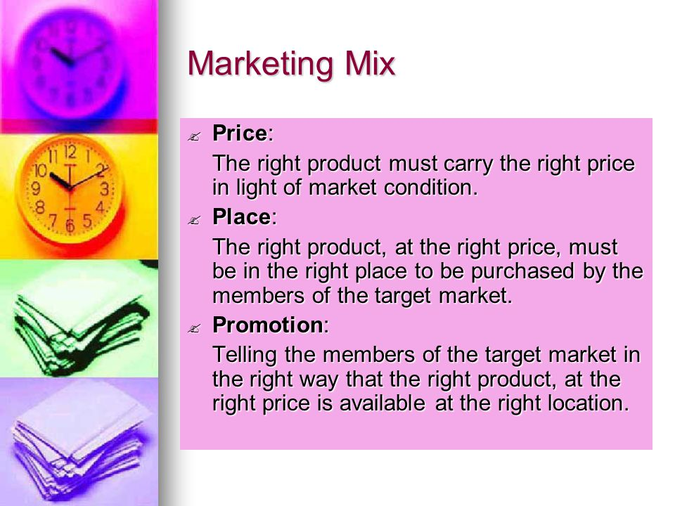 "Marketing Mix  "" the set of marketing tools that the firm uses to pursue its marketing objectives in the target market""  McCarthy: Four Ps, product,"