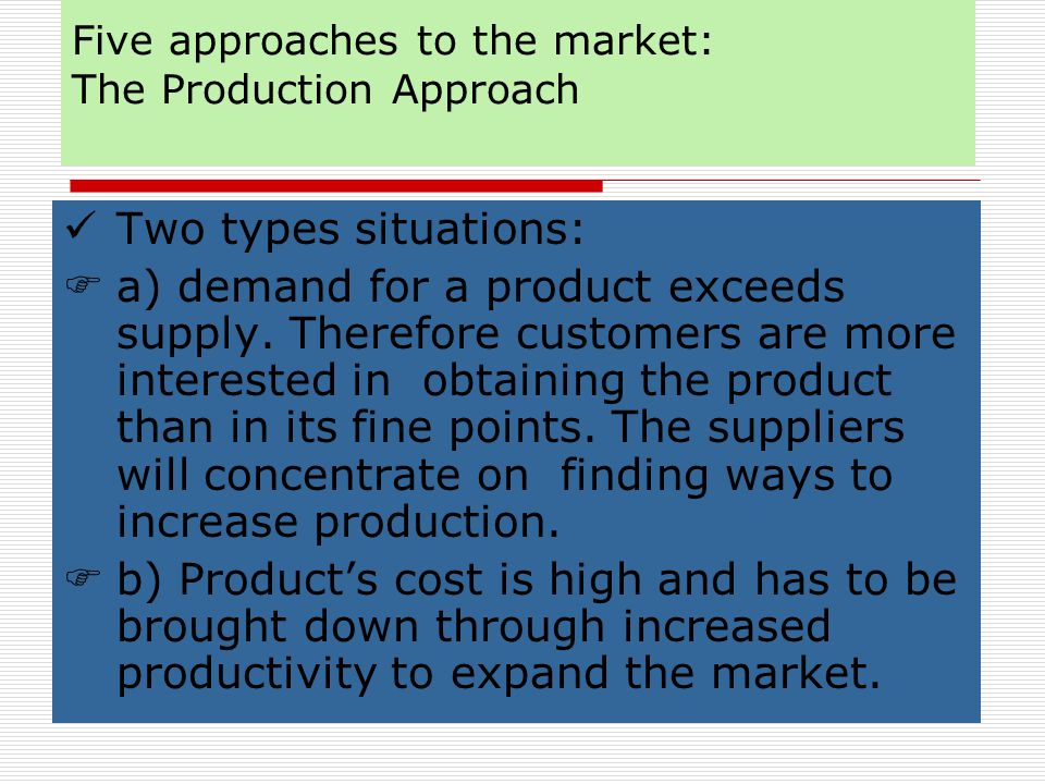Five approaches to the market : The Societal Marketing Approach Company profits Consumer want satisfaction Public interest Societal Marketing Approach