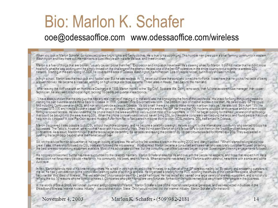 November 4, 2003Marlon K.