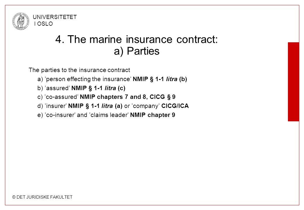 © DET JURIDISKE FAKULTET UNIVERSITETET I OSLO 4. The marine insurance contract: a) Parties The parties to the insurance contract a) 'person effecting