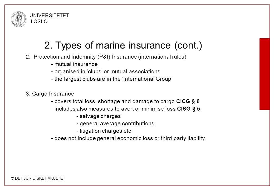 © DET JURIDISKE FAKULTET UNIVERSITETET I OSLO 2. Types of marine insurance (cont.) 2. Protection and Indemnity (P&I) Insurance (international rules) -