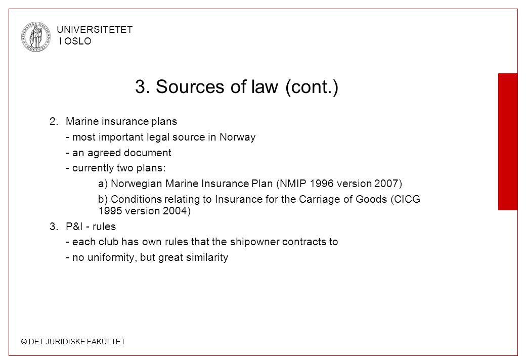 © DET JURIDISKE FAKULTET UNIVERSITETET I OSLO 3. Sources of law (cont.) 2.