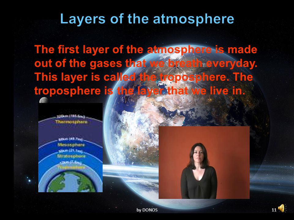10by DONOS The first layer of the atmosphere is made out of the gases that we breath everyday.