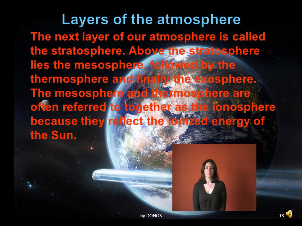 12by DONOS The next layer of our atmosphere is called the stratosphere. Above the stratosphere lies the mesosphere, followed by the thermosphere and f