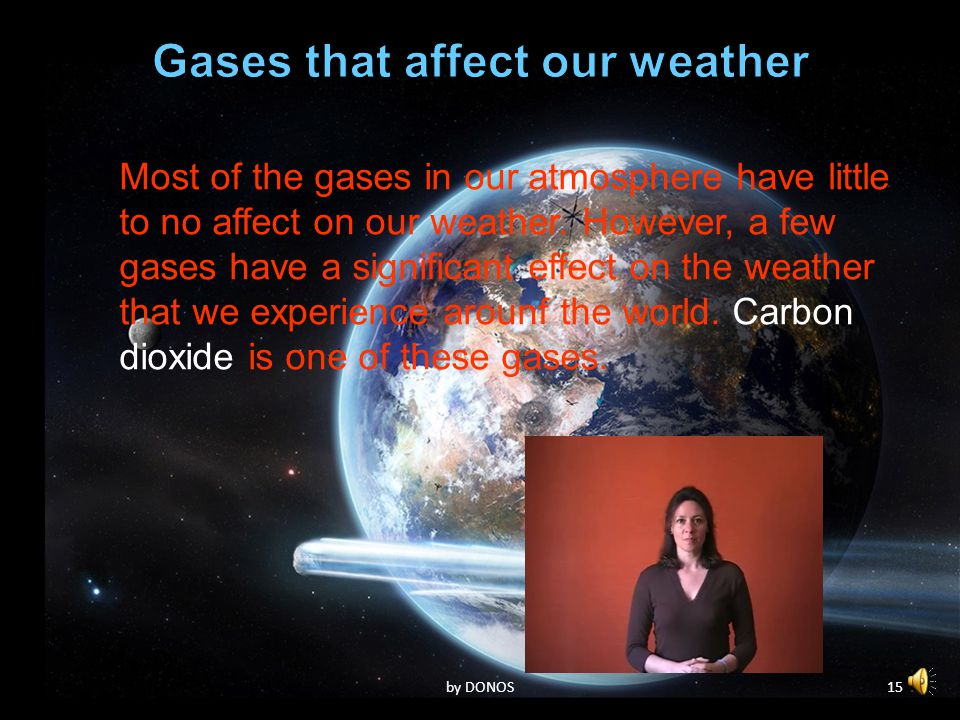 14by DONOS Most of the gases in our atmosphere have little to no affect on our weather.