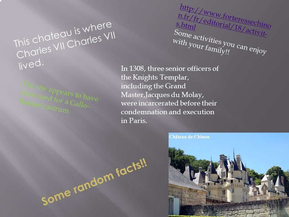 , This chateau is where Charles VII Charles VII lived.