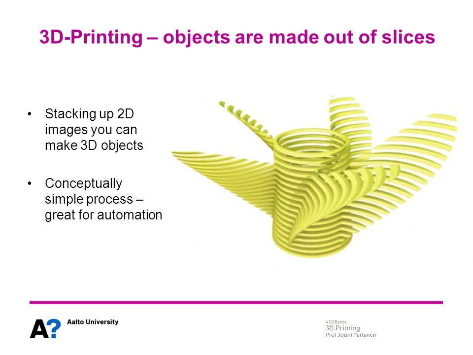 ADDBasics 3D-Printing Prof Jouni Partanen 3D-Printing – objects are made out of slices Stacking up 2D images you can make 3D objects Conceptually simp