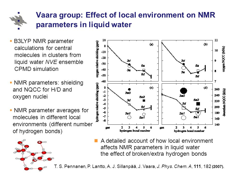 Vaara group: Effect of local environment on NMR parameters in liquid water T.