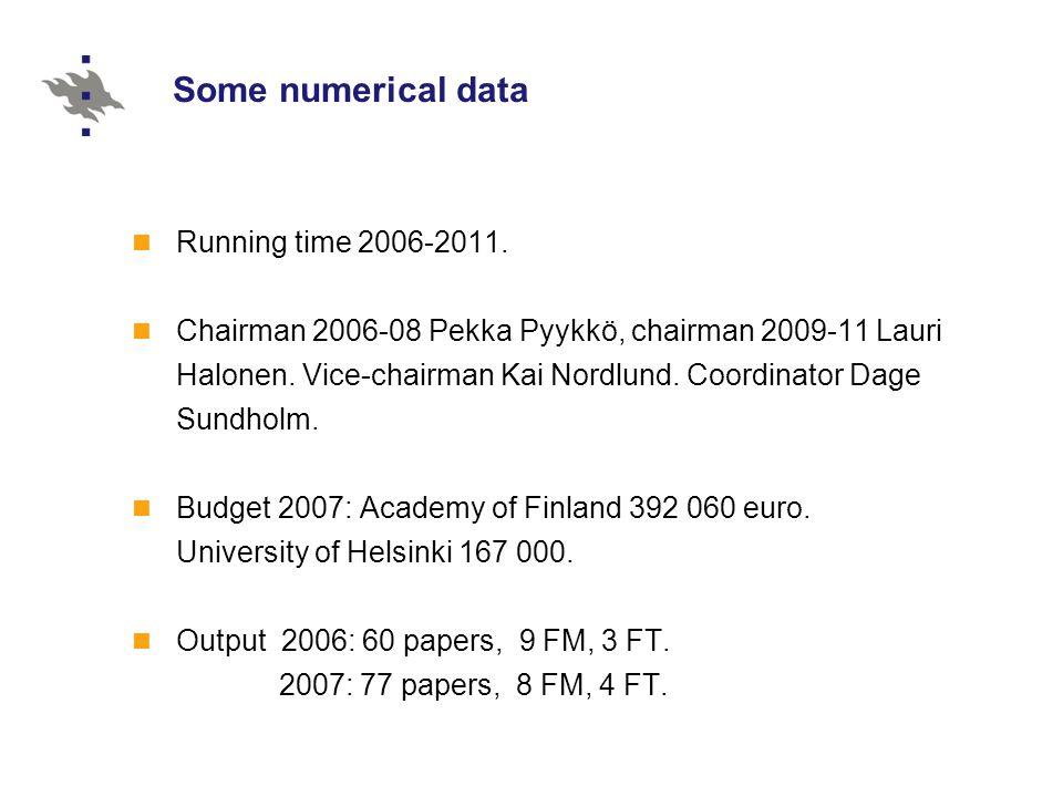 Running time 2006-2011. Chairman 2006-08 Pekka Pyykkö, chairman 2009-11 Lauri Halonen.