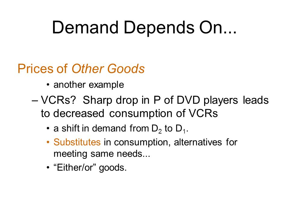 Demand Depends On... Prices of Other Goods another example –VCRs.