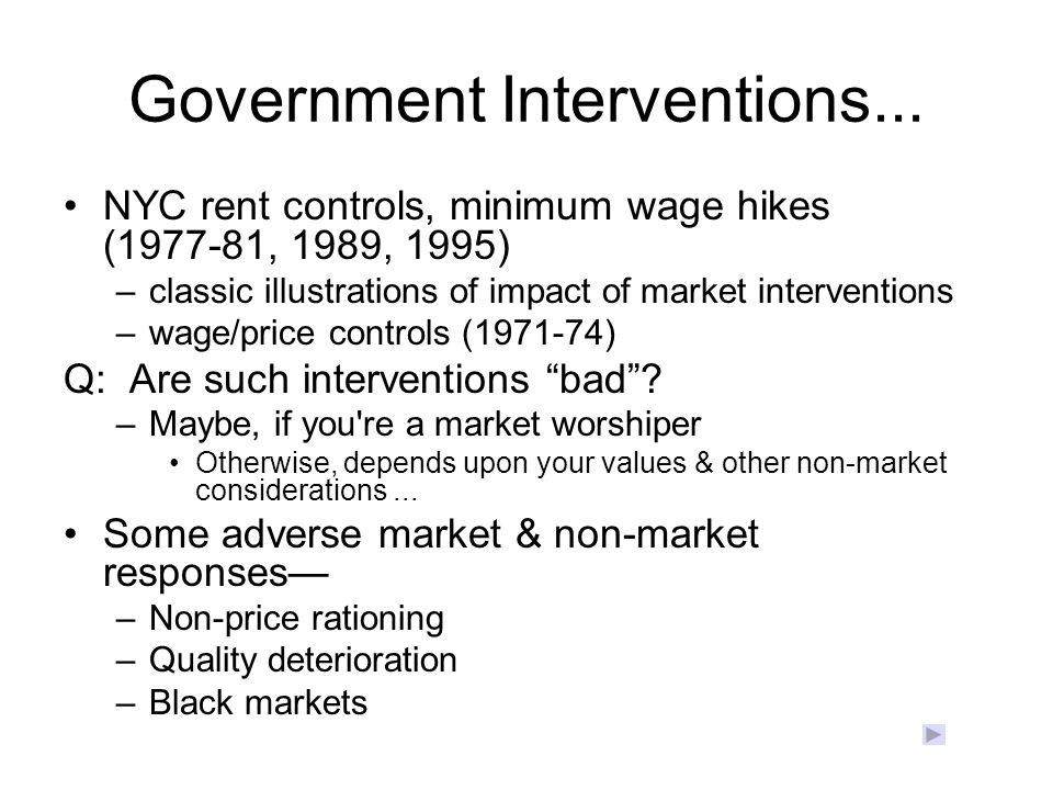Government Interventions...