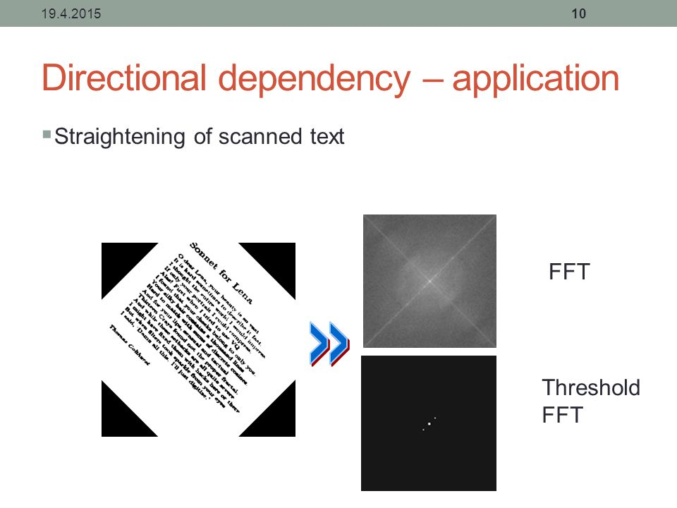 Directional dependency – application  Straightening of scanned text 19.4.201510 Threshold FFT