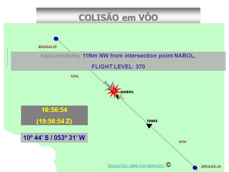 COLISÃO em VÔO Cel. Rufino/CENIPA Coordonnées Geográfiques 10º 44' S / 053º 31' W 16:56:54h (19:56:54 Z) Approximativement à 20km au nord-ouest du poi