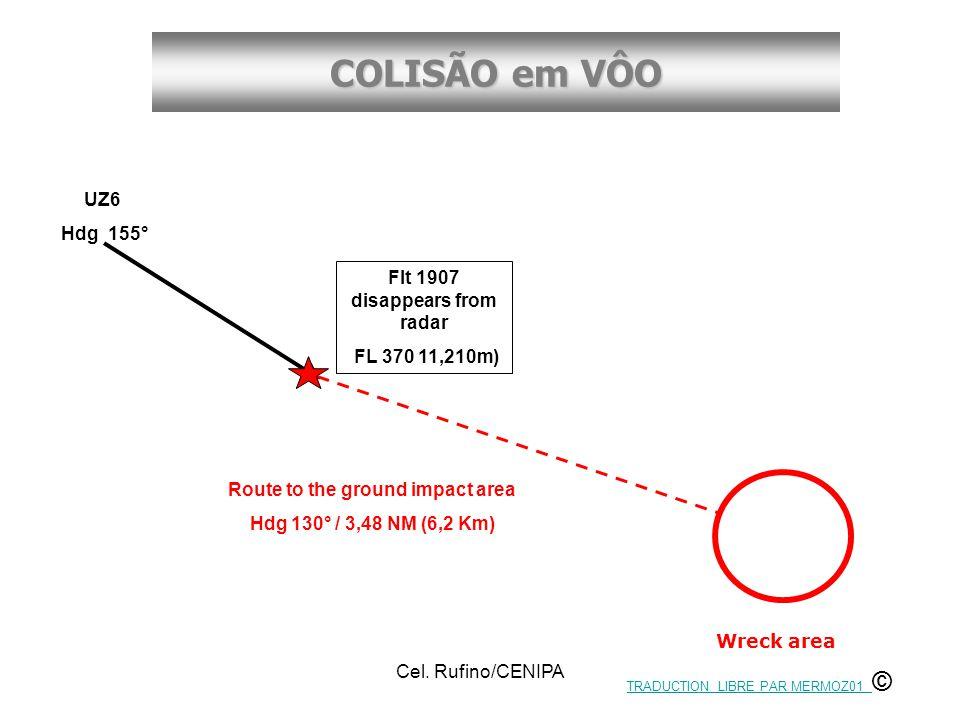 COLISÃO em VÔO Cel. Rufino/CENIPA UZ6 Hdg 155° Flt 1907 disappears from radar FL 370 11,210m) Wreck area Route to the ground impact area Hdg 130° / 3,