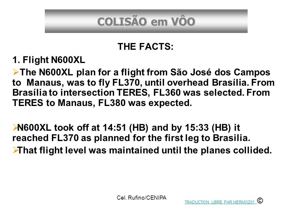 COLISÃO em VÔO Cel. Rufino/CENIPA THE FACTS: 1. Flight N600XL  The N600XL plan for a flight from São José dos Campos to Manaus, was to fly FL370, unt
