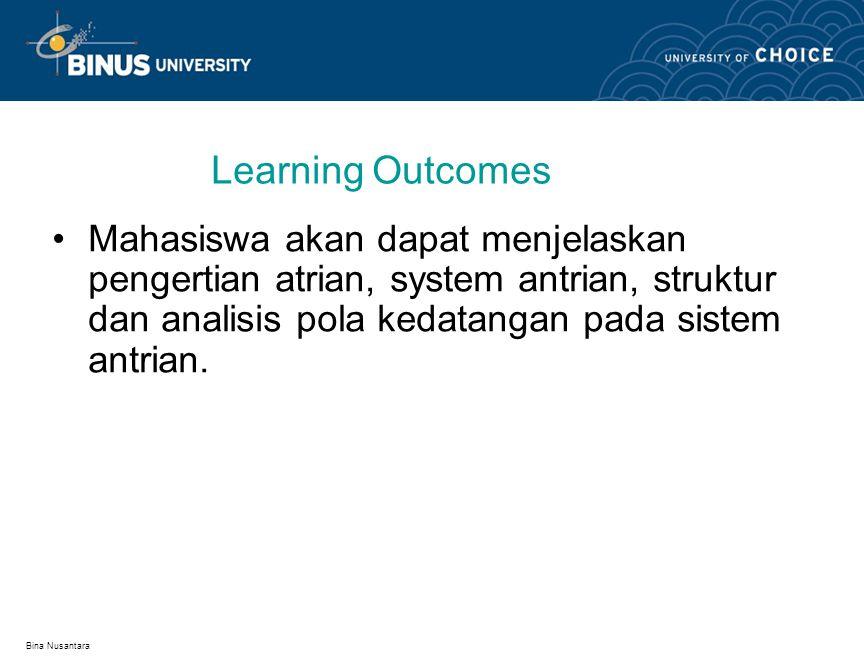 Bina Nusantara Learning Outcomes Mahasiswa akan dapat menjelaskan pengertian atrian, system antrian, struktur dan analisis pola kedatangan pada sistem
