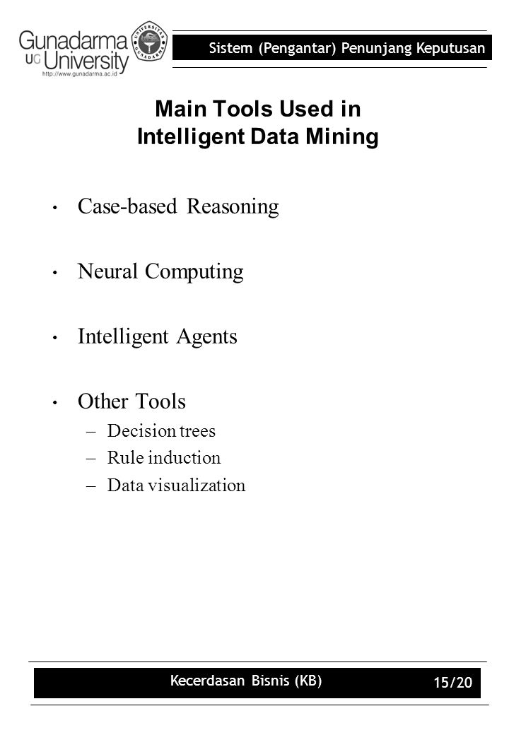 Sistem (Pengantar) Penunjang Keputusan Kecerdasan Bisnis (KB) 15/20 Main Tools Used in Intelligent Data Mining Case-based Reasoning Neural Computing Intelligent Agents Other Tools –Decision trees –Rule induction –Data visualization