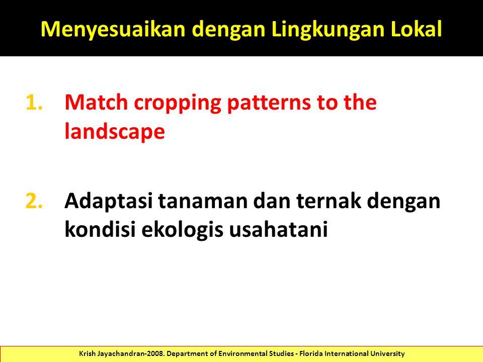 Menyesuaikan dengan Lingkungan Lokal 1.Match cropping patterns to the landscape 2.Adaptasi tanaman dan ternak dengan kondisi ekologis usahatani Krish Jayachandran-2008.