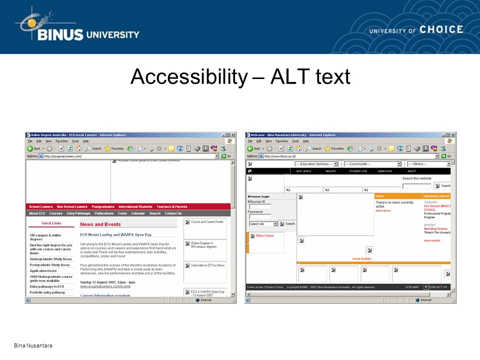 Bina Nusantara Accessibility – ALT text