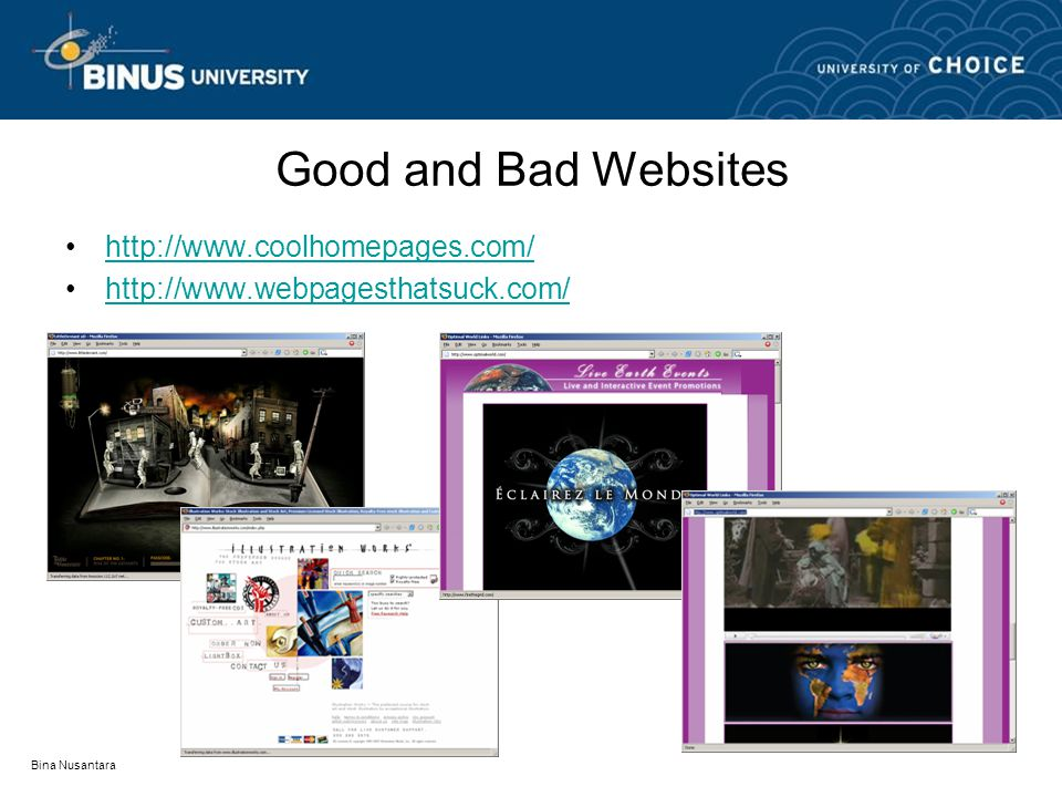 Good and Bad Websites http://www.coolhomepages.com/ http://www.webpagesthatsuck.com/