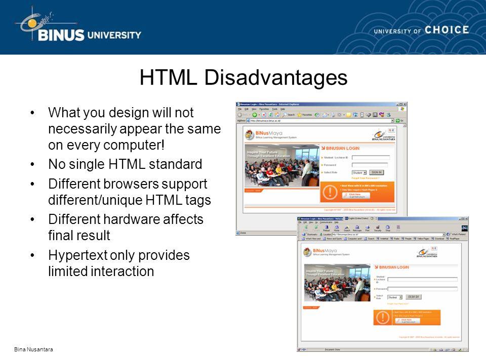 Bina Nusantara HTML Extentions DHTML (Dynamic HTML) XML (eXtensible Markup Language) SMIL (Synchronized Multimedia Integration Language) VRML (Virtual Reality Markup Language)