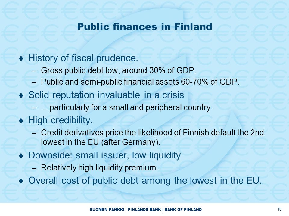 SUOMEN PANKKI | FINLANDS BANK | BANK OF FINLAND Public finances in Finland  History of fiscal prudence.
