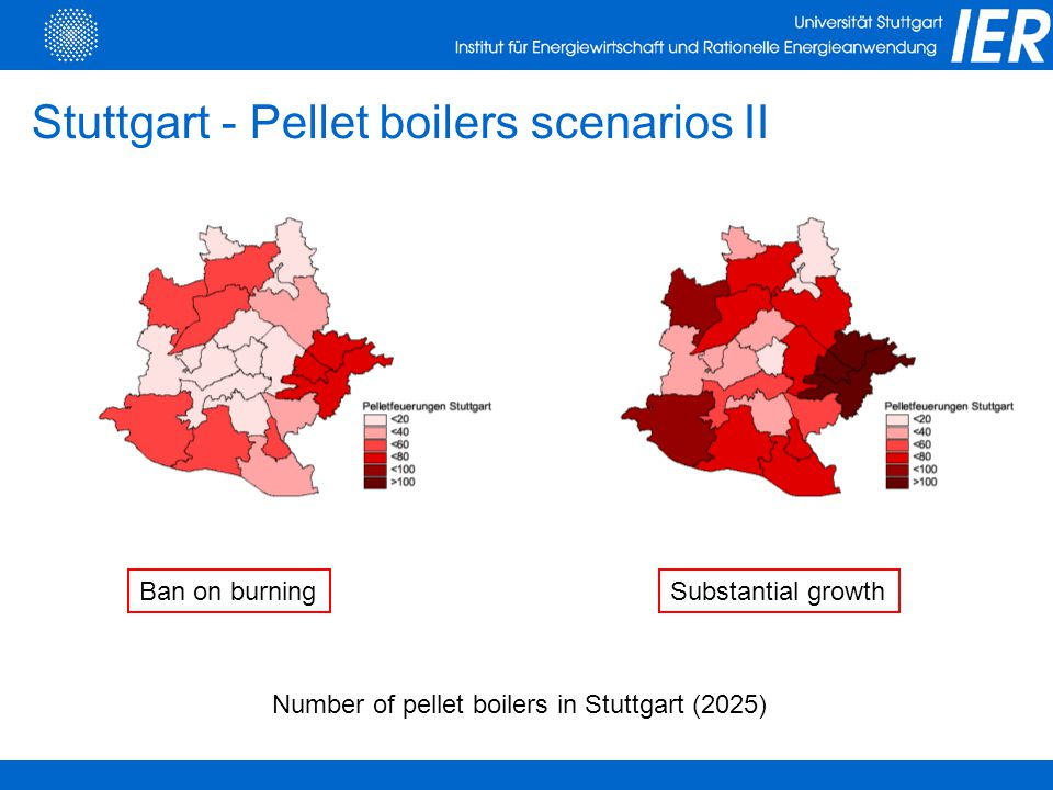 Ban on burningSubstantial growth Stuttgart - Pellet boilers scenarios II Number of pellet boilers in Stuttgart (2025)