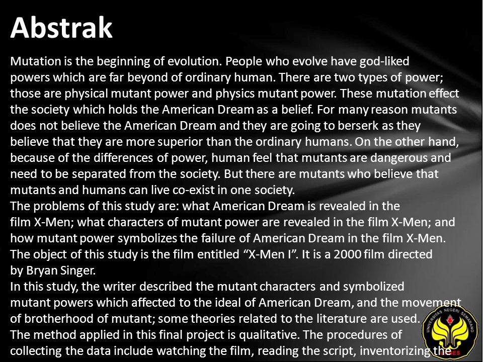 Kata Kunci Mutant Power, American Dream, symbolism