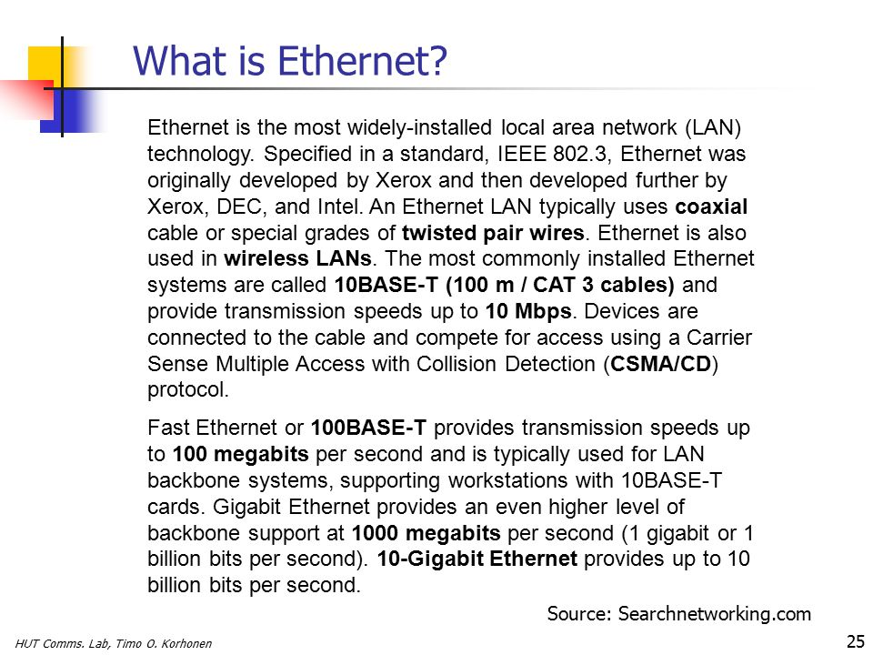 HUT Comms. Lab, Timo O. Korhonen 25 What is Ethernet.
