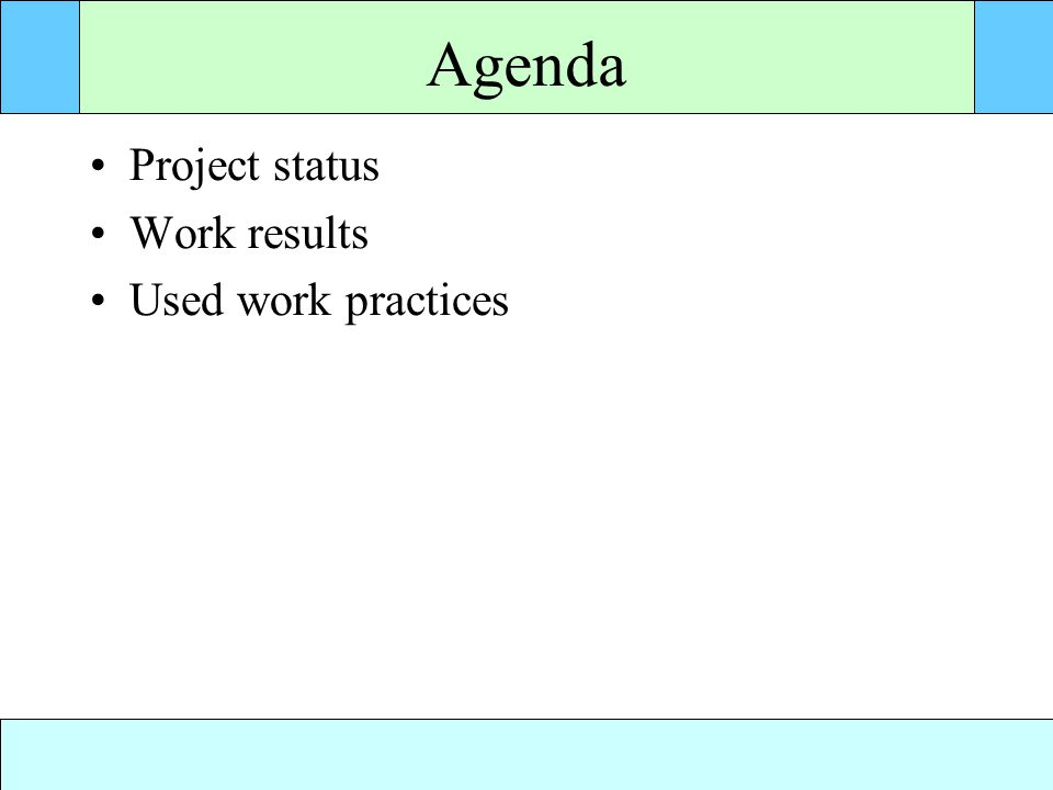 Agenda Project status Work results Used work practices