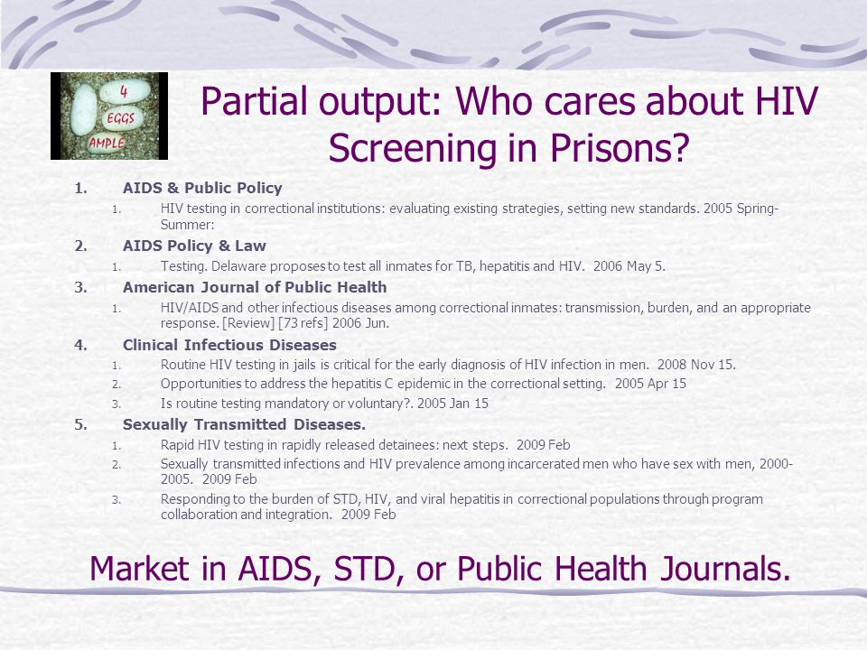 Partial output: Who cares about HIV Screening in Prisons.