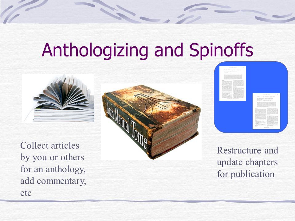 Anthologizing and Spinoffs Restructure and update chapters for publication Collect articles by you or others for an anthology, add commentary, etc