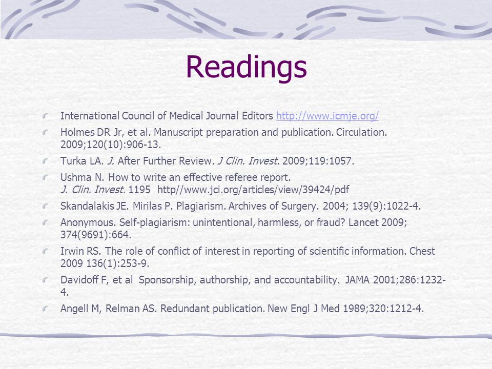Readings International Council of Medical Journal Editors http://www.icmje.org/http://www.icmje.org/ Holmes DR Jr, et al.
