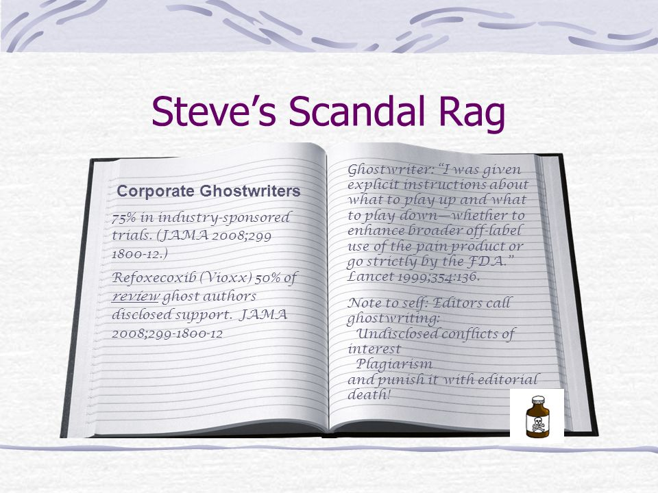 Steve's Scandal Rag Corporate Ghostwriters 75% in industry-sponsored trials.