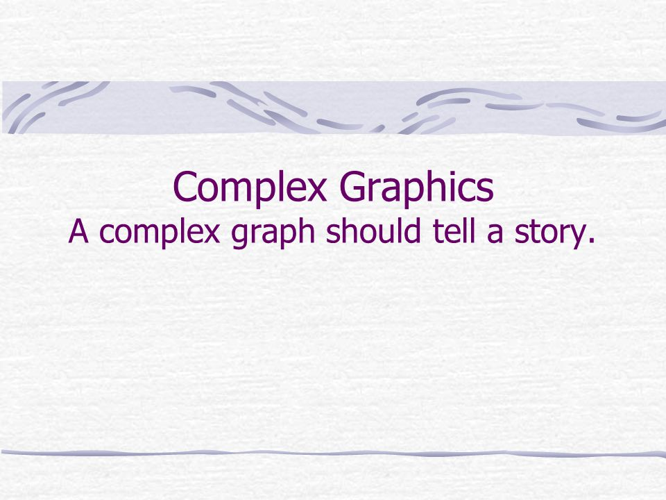 Complex Graphics A complex graph should tell a story.