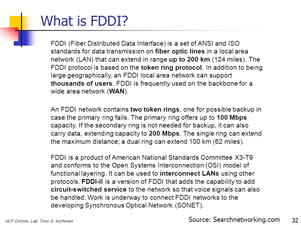 HUT Comms. Lab, Timo O. Korhonen 32 What is FDDI? FDDI (Fiber Distributed Data Interface) is a set of ANSI and ISO standards for data transmission on
