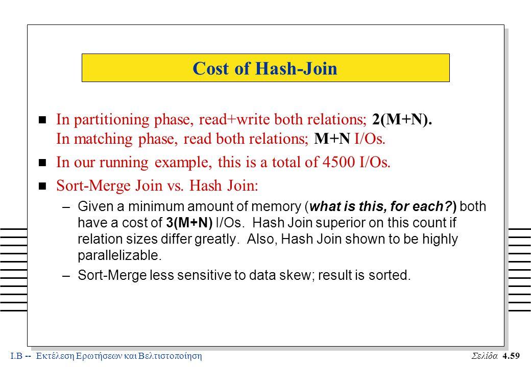 Ι.Β -- Εκτέλεση Ερωτήσεων και ΒελτιστοποίησηΣελίδα 4.59 Cost of Hash-Join n In partitioning phase, read+write both relations; 2(M+N).