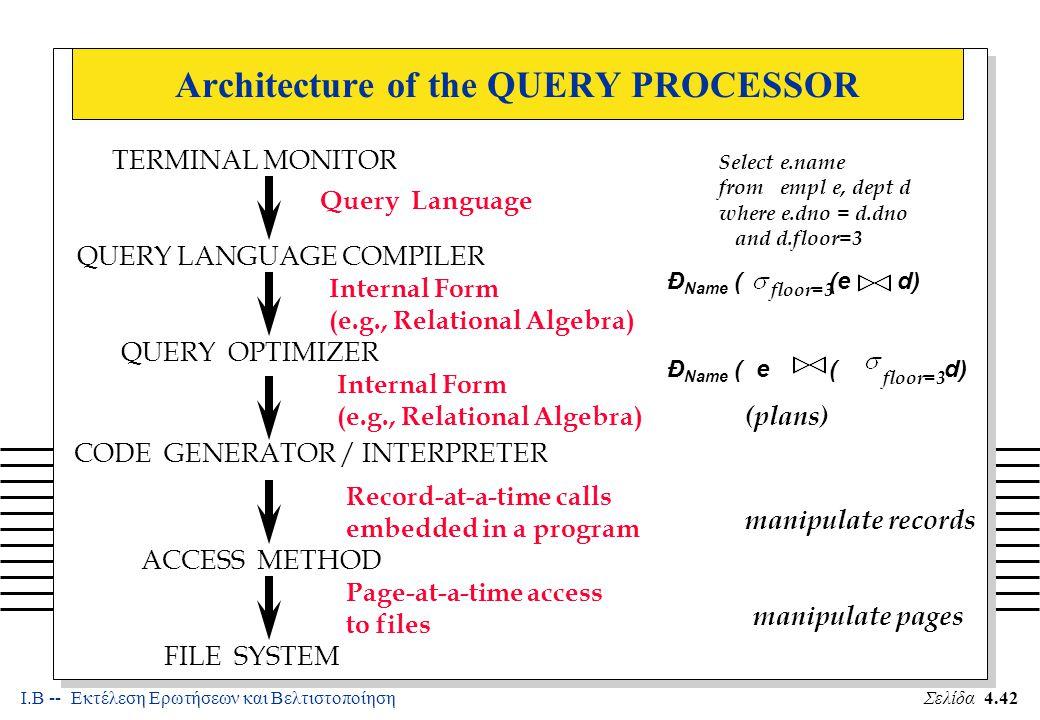 Ι.Β -- Εκτέλεση Ερωτήσεων και ΒελτιστοποίησηΣελίδα 4.53 Examples of Block Nested Loops n Cost: Scan of outer + #outer blocks * scan of inner –#outer blocks = n With Reserves (R) as outer, and 100 pages of R: –Cost of scanning R is 1000 I/Os; a total of 10 blocks.