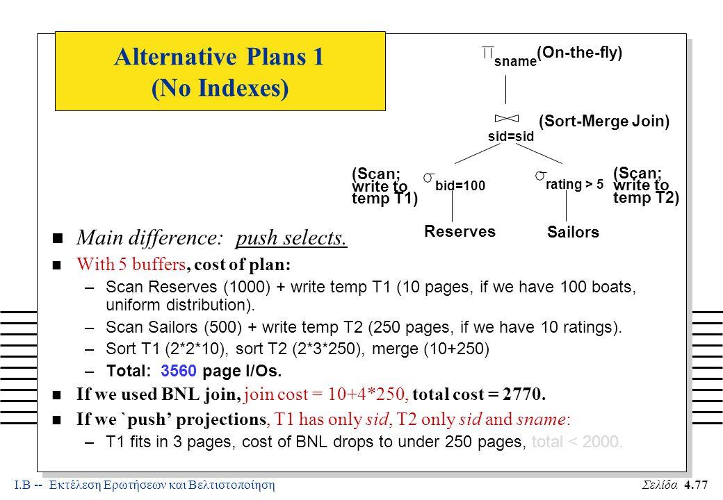 Ι.Β -- Εκτέλεση Ερωτήσεων και ΒελτιστοποίησηΣελίδα 4.77 Alternative Plans 1 (No Indexes) n Main difference: push selects.