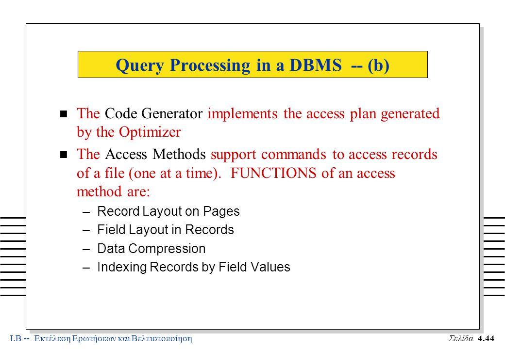 Ι.Β -- Εκτέλεση Ερωτήσεων και ΒελτιστοποίησηΣελίδα 4.45 Query Processing in a DBMS -- (c) n The File System supports page-at-a-time access to files n FUNCTIONS of the File System are: –Partitioning of the file into disks –Managing Free Space on Disk –Issuing Hardware I/O commands –Managing Main Memory Buffers