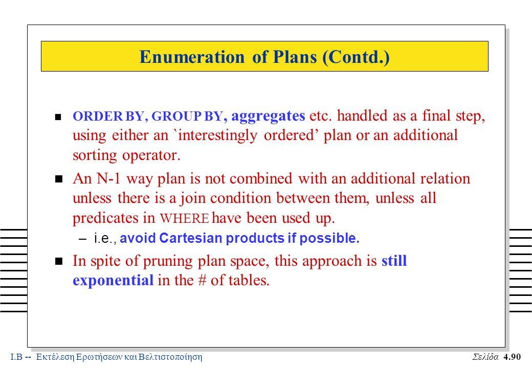 Ι.Β -- Εκτέλεση Ερωτήσεων και ΒελτιστοποίησηΣελίδα 4.90 Enumeration of Plans (Contd.) n ORDER BY, GROUP BY, aggregates etc.