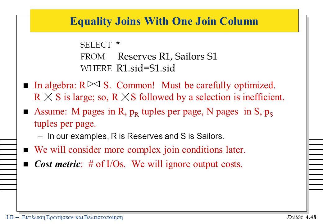 Ι.Β -- Εκτέλεση Ερωτήσεων και ΒελτιστοποίησηΣελίδα 4.49 Simple Nested Loops Join n For each tuple in the outer relation R, we scan the entire inner relation S.