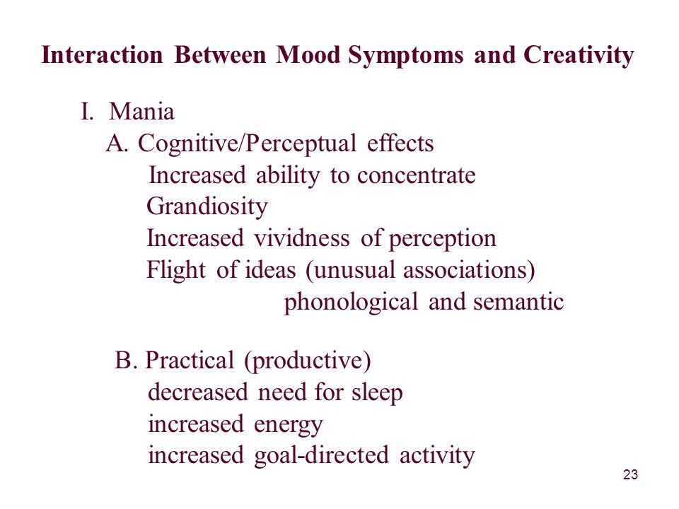 23 Interaction Between Mood Symptoms and Creativity I.