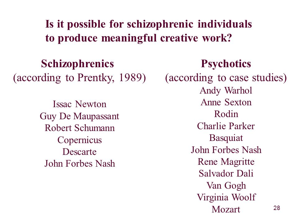 28 Is it possible for schizophrenic individuals to produce meaningful creative work.