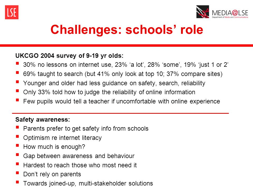 Challenges: schools' role UKCGO 2004 survey of 9-19 yr olds:  30% no lessons on internet use, 23% 'a lot', 28% 'some', 19% 'just 1 or 2'  69% taught to search (but 41% only look at top 10; 37% compare sites)  Younger and older had less guidance on safety, search, reliability  Only 33% told how to judge the reliability of online information  Few pupils would tell a teacher if uncomfortable with online experience ______________________________________________________________ Safety awareness:  Parents prefer to get safety info from schools  Optimism re internet literacy  How much is enough.