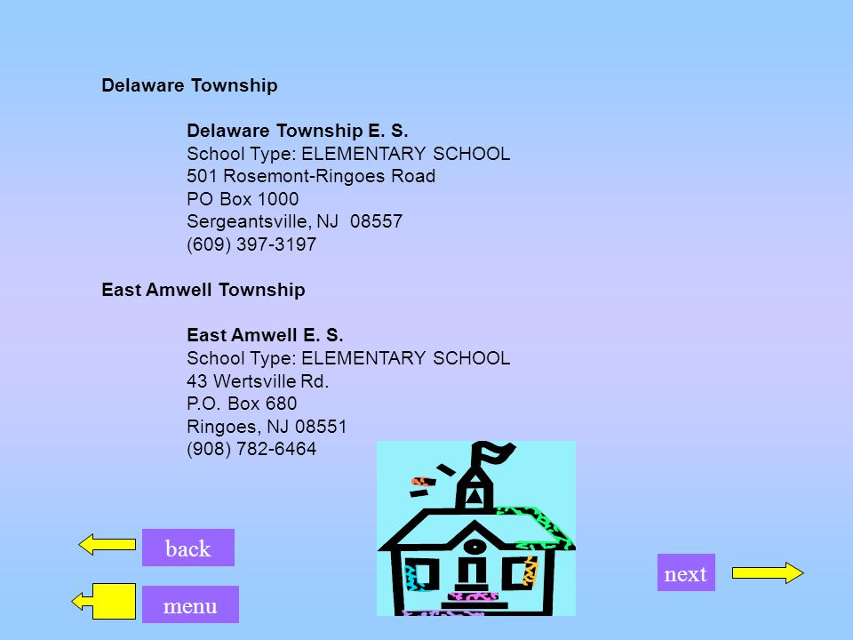 back menu next Readington Township Holland Brook School E.
