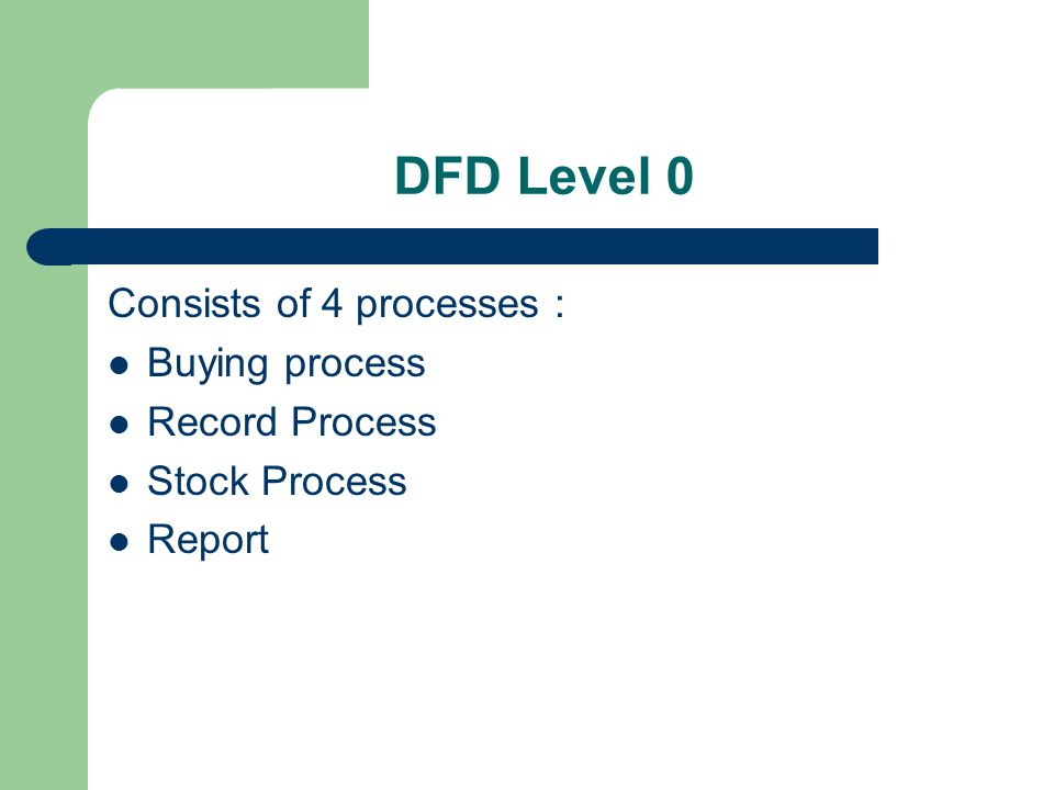 DFD Level 0 Consists of 4 processes : Buying process Record Process Stock Process Report