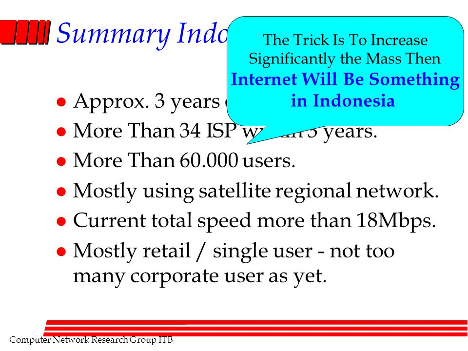 Computer Network Research Group ITB Summary Indonesian Internet l Approx.