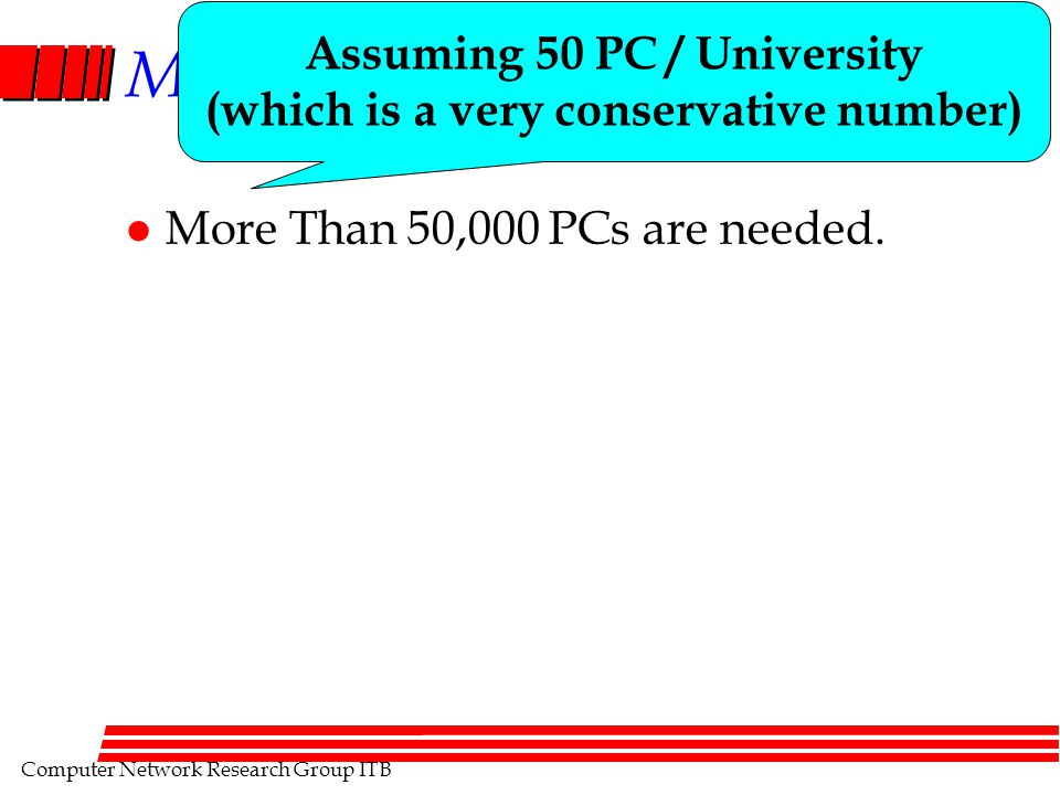 Computer Network Research Group ITB Major Spin Off l More Than 50,000 PCs are needed. Assuming 50 PC / University (which is a very conservative number